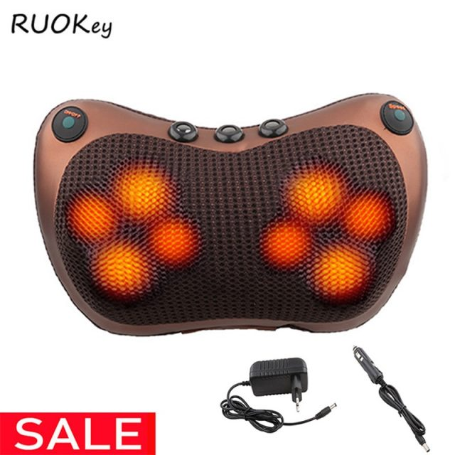 Relaxation Massage Pillow Vibrator Electric Shoulder Back Heating Kneading Infrared therapy for shiatsu Neck Massage
