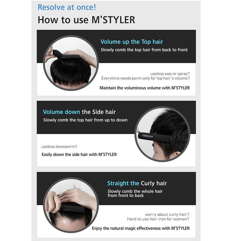 Hair Curling Iron M Styler Men's All In One Ceramic Hair Styling Iron Comb Straightener Curler Set Quick Hair Styler for Men