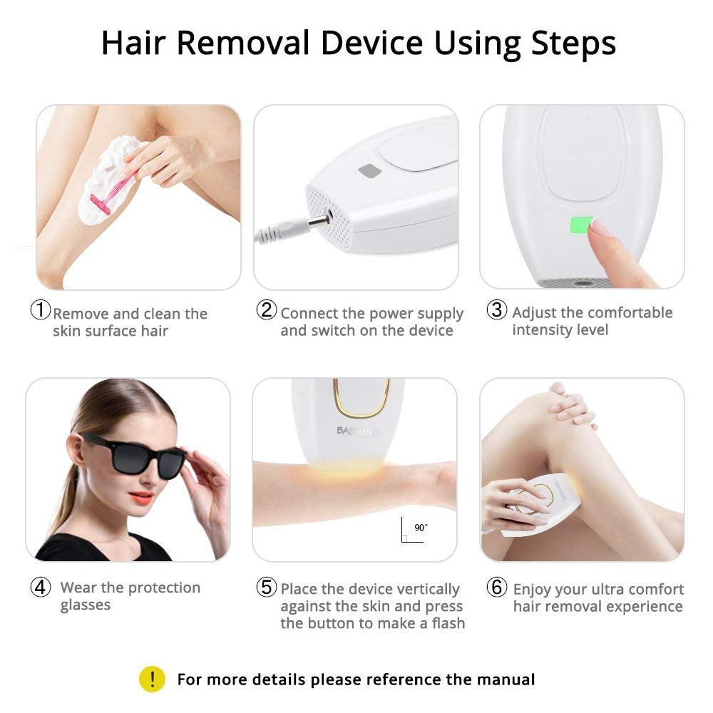 Home Hold Depilatory Laser Mini Hair Epilator Permanent Hair Removal IPL System 500000 Shot Light Pulses Whole Body Hair Remover