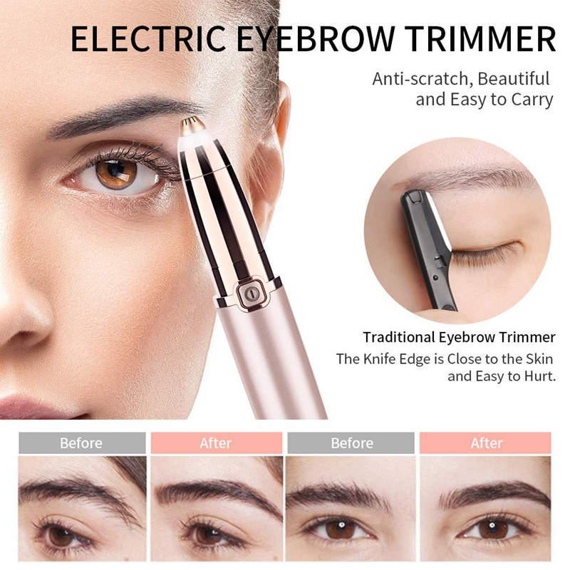 ANLAN Electric Eyebrow Trimmer Makeup Painless Eye Brow Epilator Mini Shaver Razors Portable Facial Hair Remover Women depilator