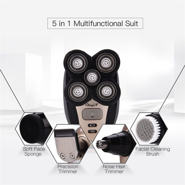 5 in 1 Rechargeable Electric Shaver Five Floating Heads Razors Hair Clipper Nose Ear Hair Trimmer Men Facial Cleaning Brush