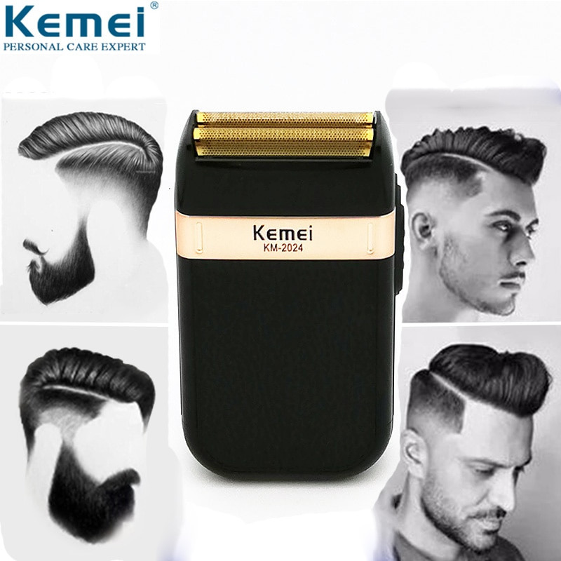 Kemei Electric Shaver for Men Twin Blade Waterproof Reciprocating Cordless Razor USB Rechargeable Shaving Machine Barber Trimmer