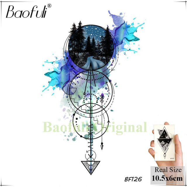 Baofuli Waterproof Temporary Sticker Geometric Planet Jellyfish Tattoo Black Triangle Tattoos Body Arm Men Fake Tatoos Chains