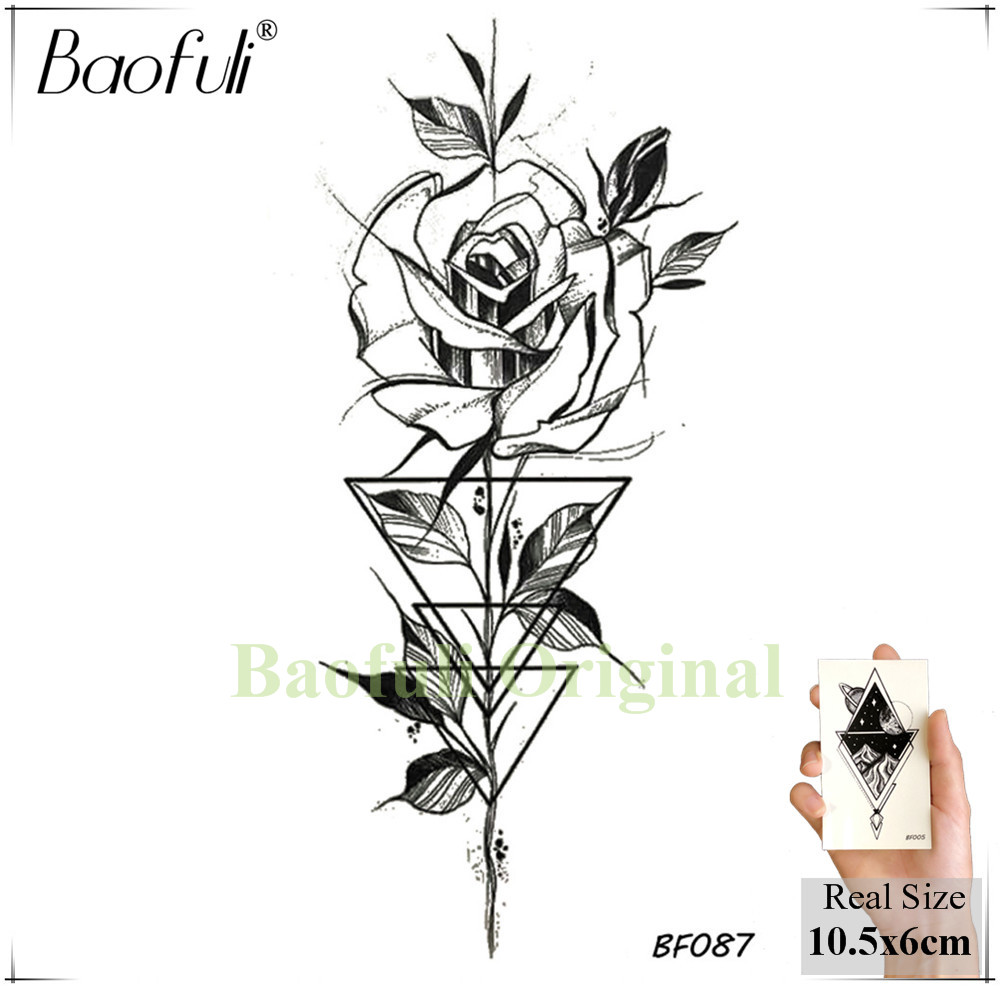 Baofuli Waterproof Temporary Sticker Geometric Planet Jellyfish Tattoo Black Triangle Tattoos Body Arm Men Fake Tatoos Chains