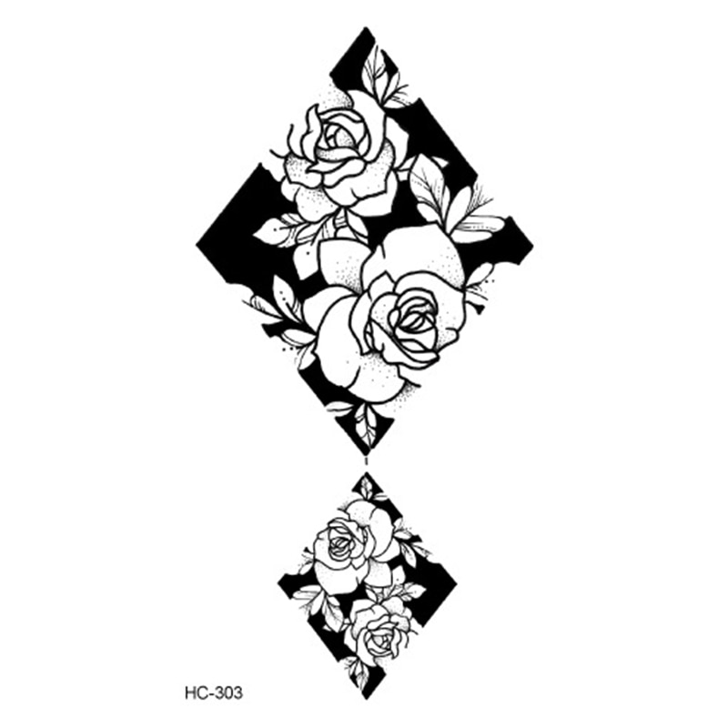 Hot 1PC Popular Ballet Black White Flowers Tattoos Sticker Temporary Drawing Body Art Fake Water Transfer