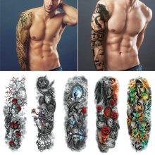 Waterproof Temporary Tattoo Sticker Full Arm Large Skull Old School Tatoo Stickers Flash Fake Tattoos for Men Women #288345
