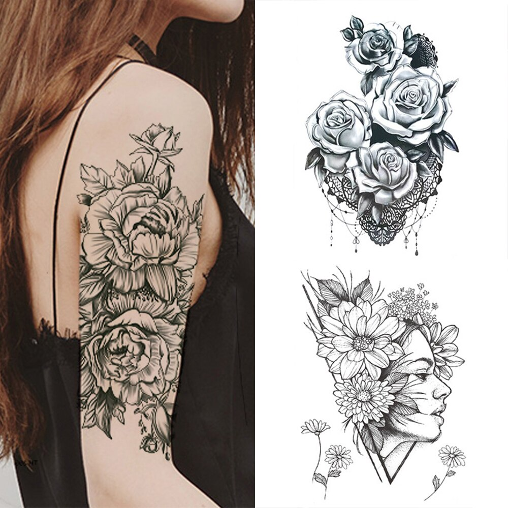 1 PC Fashion Women Girl Temporary Tattoo Sticker Black Roses Design Full Flower Arm Body Art Big Large Fake Tattoo Sticker