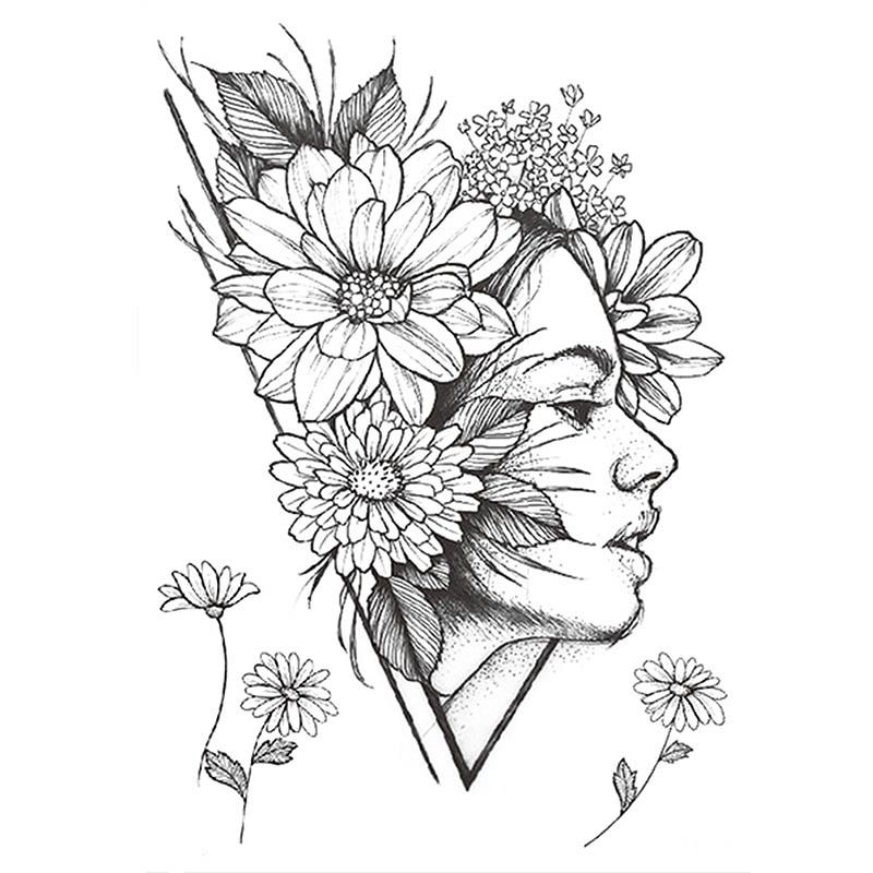 1 PC Fashion Women Girl Temporary Tattoo Sticker Black Roses Design Full Flower Arm Body Art Big Large Fake Tattoo Sticker
