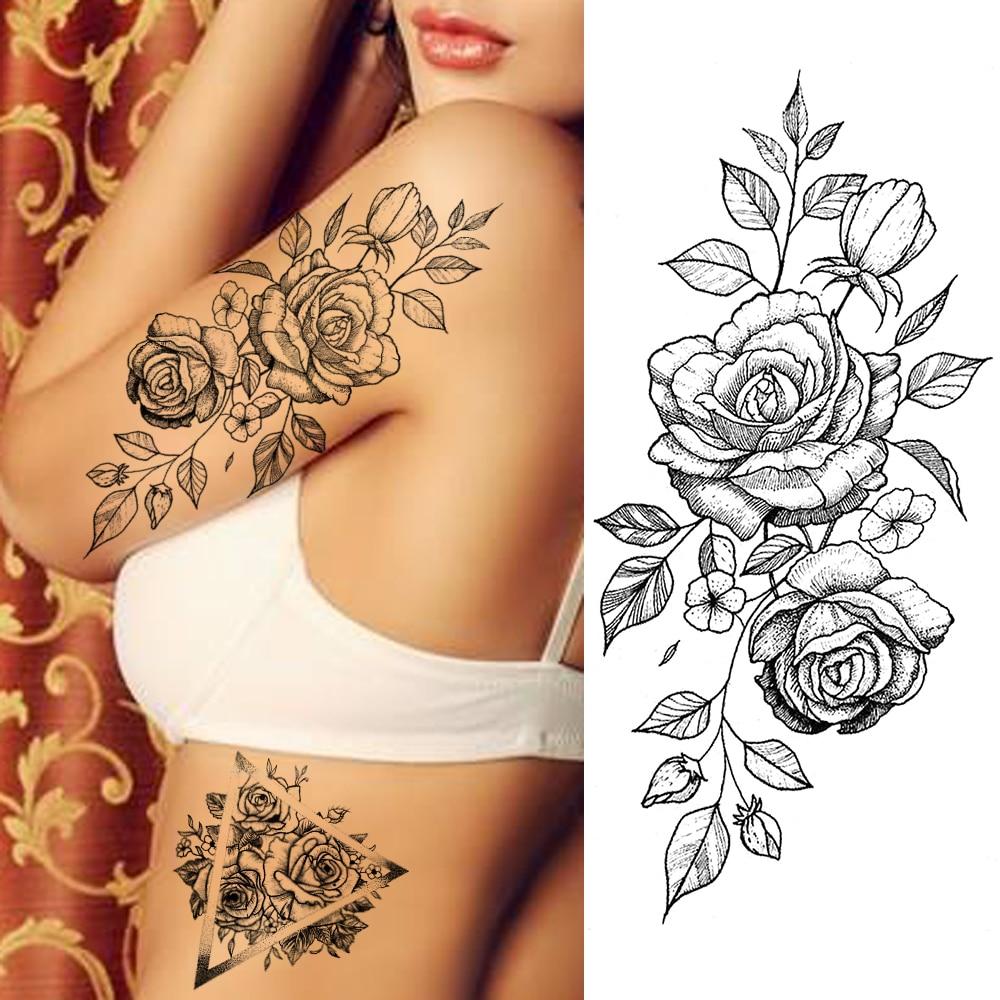 Purple Rose Jewelry Water Transfer Tattoo Stickers Women Body Chest Art Temporary Tattoo Girl Waist Bracelet Flash Tatoos Flower