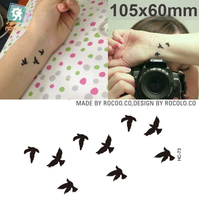 MB Classic Black Tatoo Cat Bird Fake Tattoo Tatuajes Hand Tatouage Body Waterproof Temporary Tattoo Sticker Small Taty