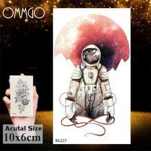 Watercolor Astronaut Universe Temporary Tattoos Sticker For Kids Fake Tattoo Planets Star Tatoos Children Waterproof Space Man