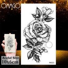 OMMGO 3D Rhombus Triangle Skull Nun Temporary Tattoo Sticker For Men Women Arm Leg Tatoo Paper Waterproof Body Art Black Tattoos