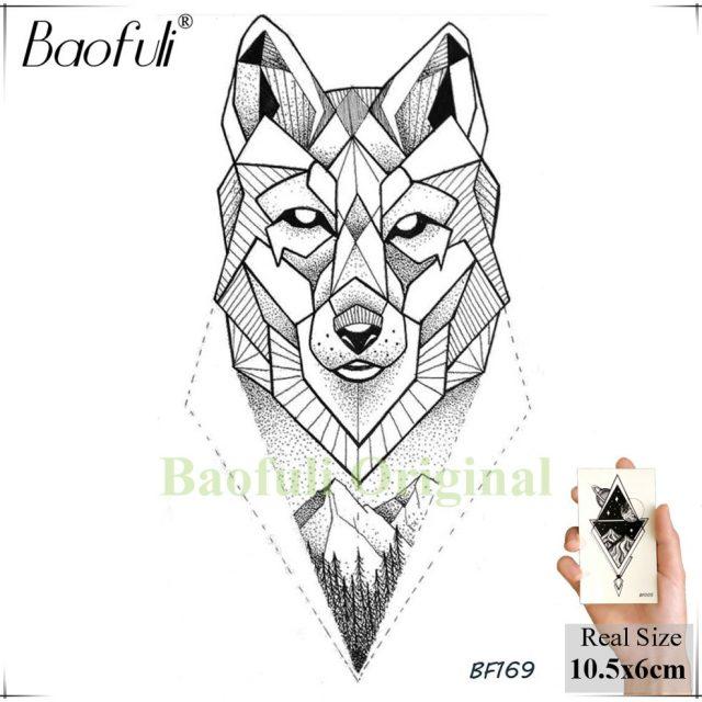 DIY Geometric Animals Fox Plant Temporary Tattoo Women Sexy Waterproof Disposable Black Tatoos Body Art Painting Tattoo Stickers