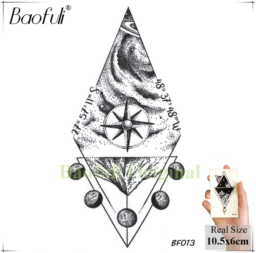 DIY Geometric Animals Fox Plant Temporary Tattoo Women Sexy Waterproof Disposable Black Tatoos Body Art Painting Tattoo Stickers