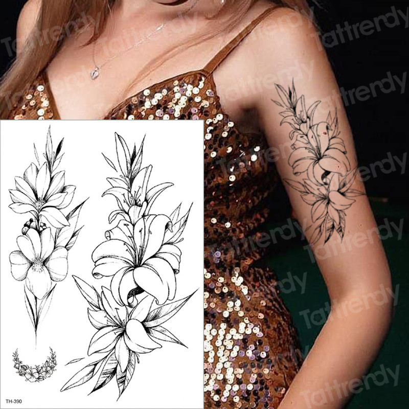 temporary tattoo black flower tattoo sleeves water transfer tatoo sticker peony rose tattoos body art sexy tatoo girl arm tatto
