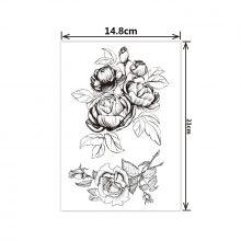 Fashion Black White Flower Tattoo Sticker Women Body Art Peony Rose Waterproof Water Transfer Temporary Tattoo