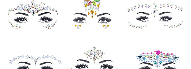 Face jewels sticker Make Up Adhesive Temporary Tattoo  Body Art Gems Rhinestone Stickers for  Festival Party