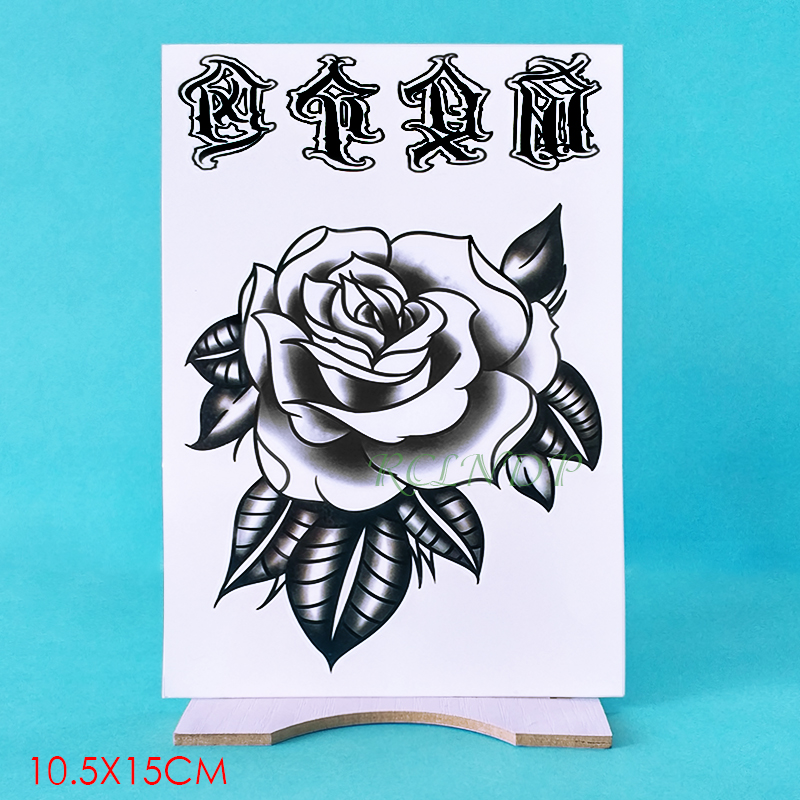 Waterproof Temporary Tattoo Sticker Flower Rose Fake Tatto Flash Tatoo Hand Arm Foot Back Tato body art for Girl Women Men