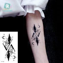 Water Transfer Tattoo Minimalist small sun moon tattoo Body Art Waterproof Temporary fake Tattoo for man woman kid 10.5*6cm