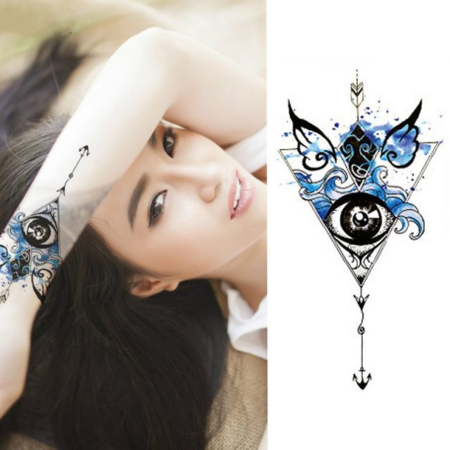1 Pieces/set Small Full Flower Arm Temporary Waterproof Tattoo Stickers Fox Owl for Women Men Body Art