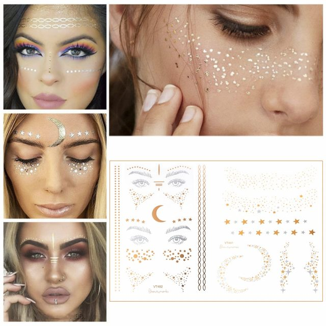 2019 New Gold Face Temporary Tattoo Waterproof Blocked Freckles Makeup Stickers Eye Decal Wholesale