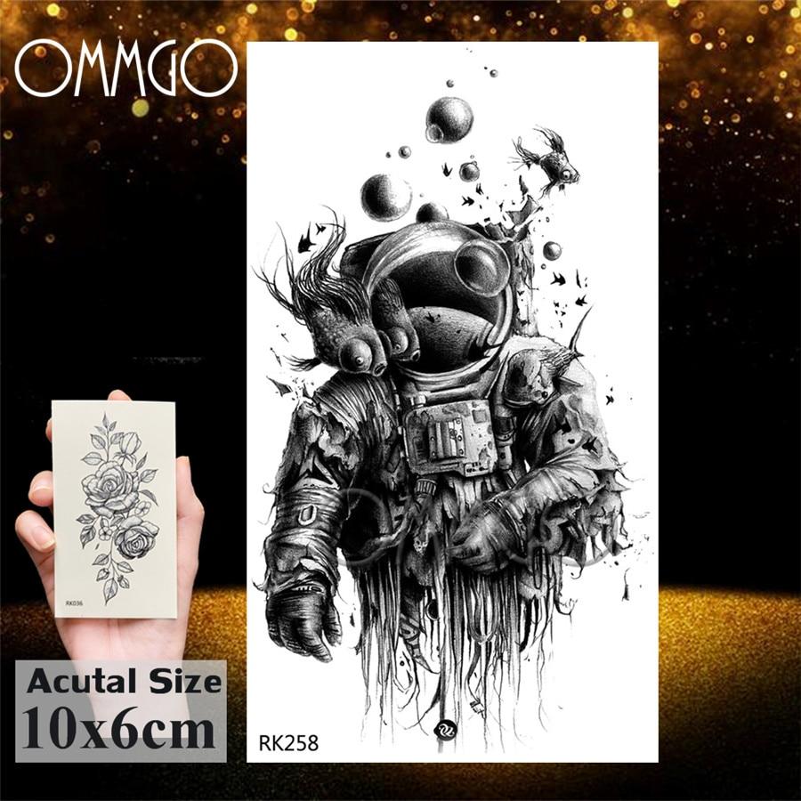 OMMGO Outspace Women Planet Brain Temporary Tattoo Sticker Waterproof Black Geometric Mountain Tatoos Body Art Fake Tattoo Paper