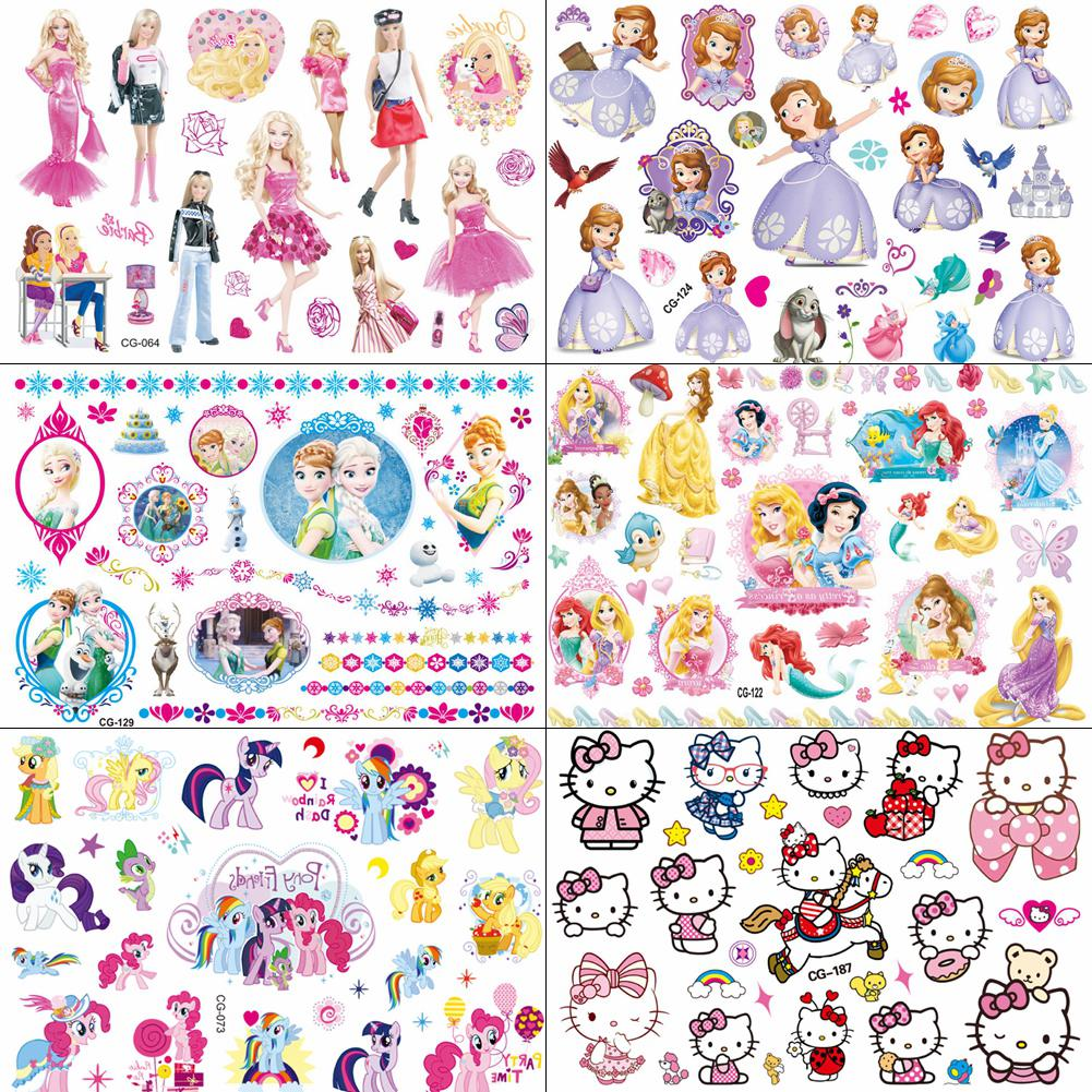 Waterproof Cartoon Temporary Tattoo For Girl Sofia Princess Body Art Tatoo Sticker Baby Kids Barbie Hello Kitty DIY Fake Tattoos
