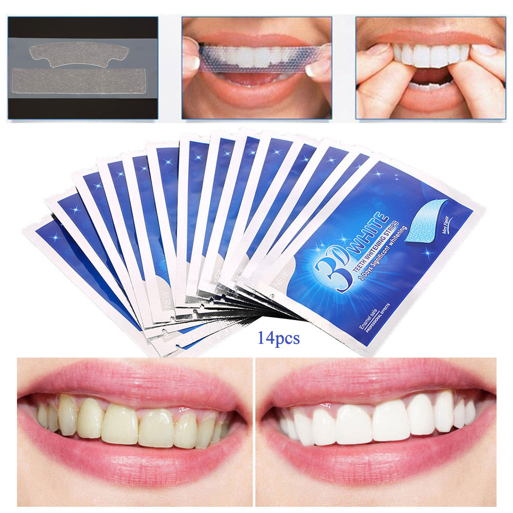 7/14 Pairs 3D White Gel Teeth Whitening Strips Stain Removal Oral Hygiene Care Strip Dental Bleaching Tools Teeth Whitening