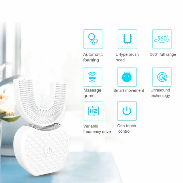 360 Degrees Intelligent Automatic Sonic Electric Toothbrush U Type 4 Modes Tooth Brush USB Charging Tooth Whitening Blue Light