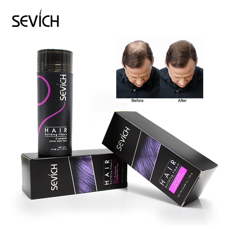 Sevich 25g hair building fibers powder hair loss products bald extension thicken hair spray jar keratin