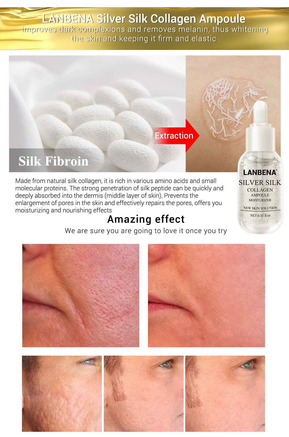 LANBENA Skin Care Face Serum Vitamina C Whitening Serum Facial Essential Oil 24k Gold Serum Essences Hyaluronic Acid Face Care