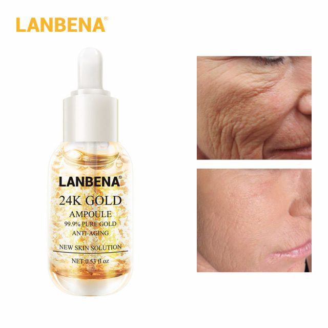 LANBENA Skin Care Face Serum Vitamina C Whitening Serum Facial Essential Oil 24k Gold Serum Essences Hyaluronic Acid Face Care