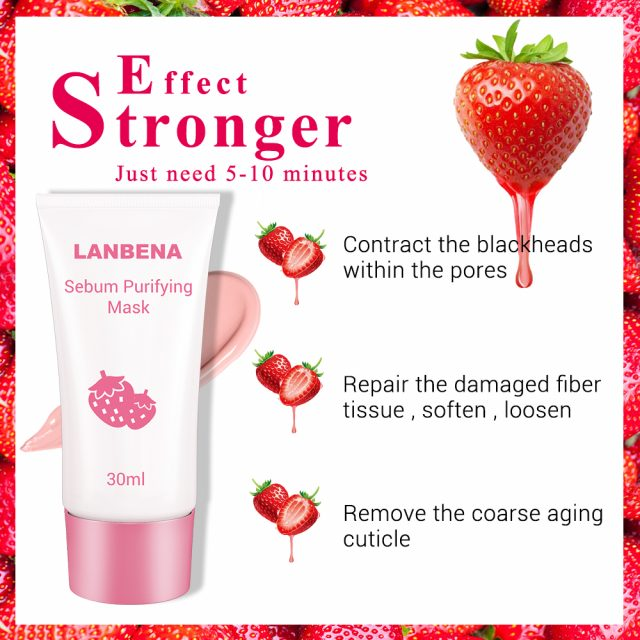 LANBENA Face Mask Strawberry Blackhead Remover Nose Mask Mud Pore Strip Black Mask Peel off Mask Acne Treatment Nose Skin Care