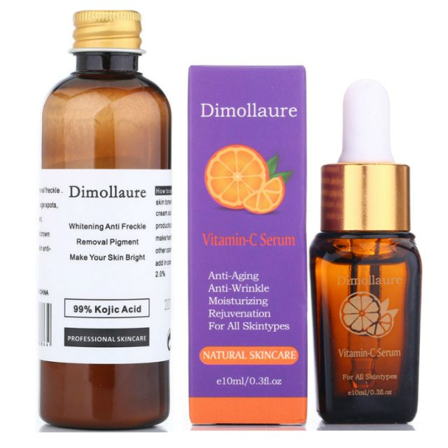 Dimollaure 30g pure Kojic Acid whitening cream+Vitamin C serum removal Acne Pimples Anti Aging pigmentt melanin Wrinkle cream