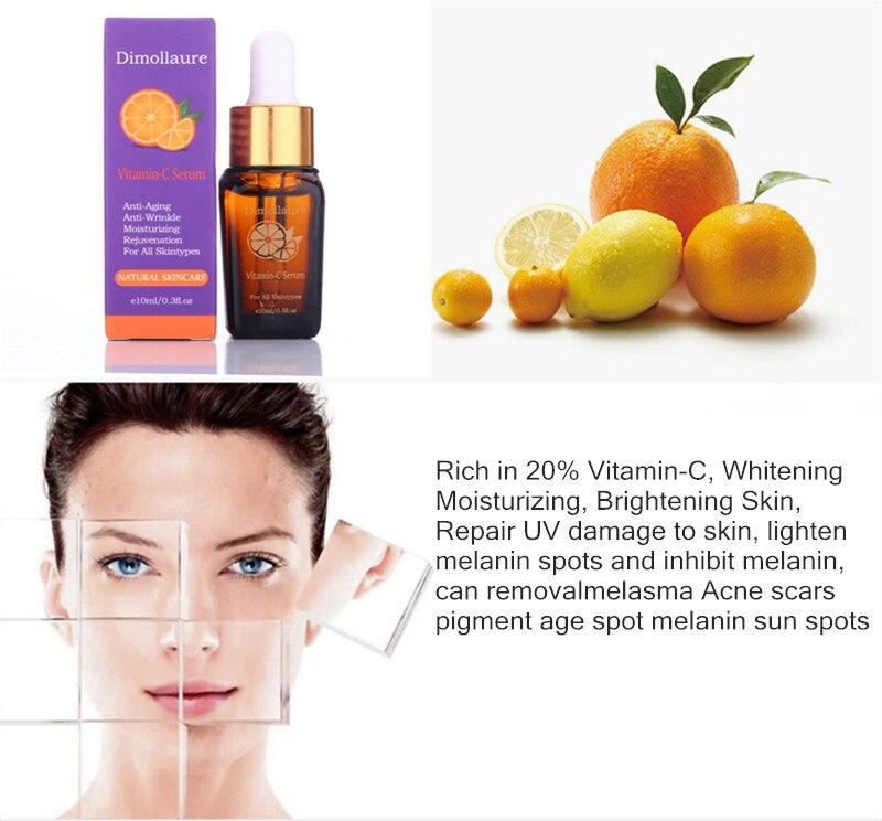 Dimollaure Retinol whitening face cream +Vitamin C serum Acne treament Remove Freckle melasma pigment Melanin sunburn Spots