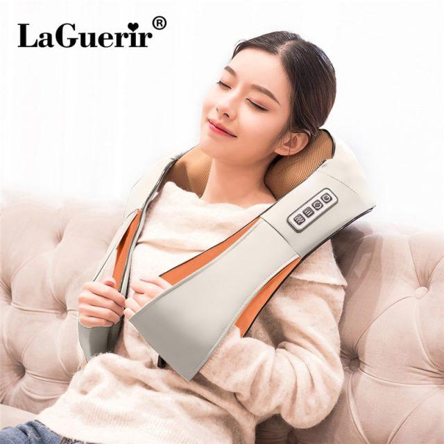 LaGuerir Home Car U Shape Electrical Shiatsu Back Neck Shoulder Body Massager Infrared Heated Kneading Car/Home Massagem