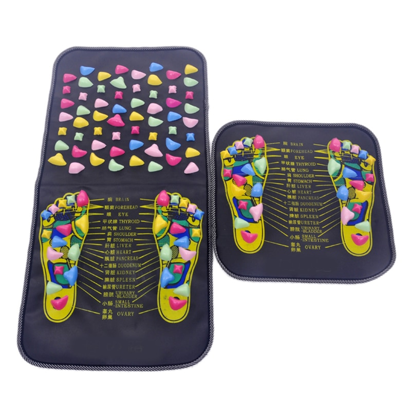1Pc Acupuncture Cobblestone Foot Reflexology Massage Pad Walk Stone Square Foot Massager Cushion for Relax Body Pain Health Care