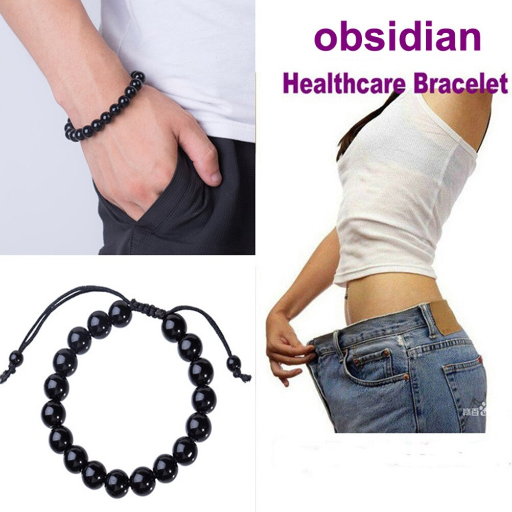 Natural Stone Black Obsidian Magnetic Therapy Bracelet Weight Loss Unisex Slimmy Health Care Bracelet