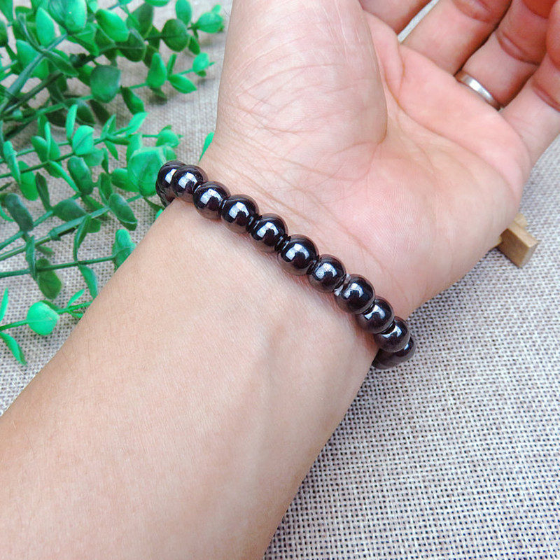 1PCS Unisex Luxury Slimming Bracelet Weight Loss Round Black Stone Magnetic Therapy Bracelet Health Care