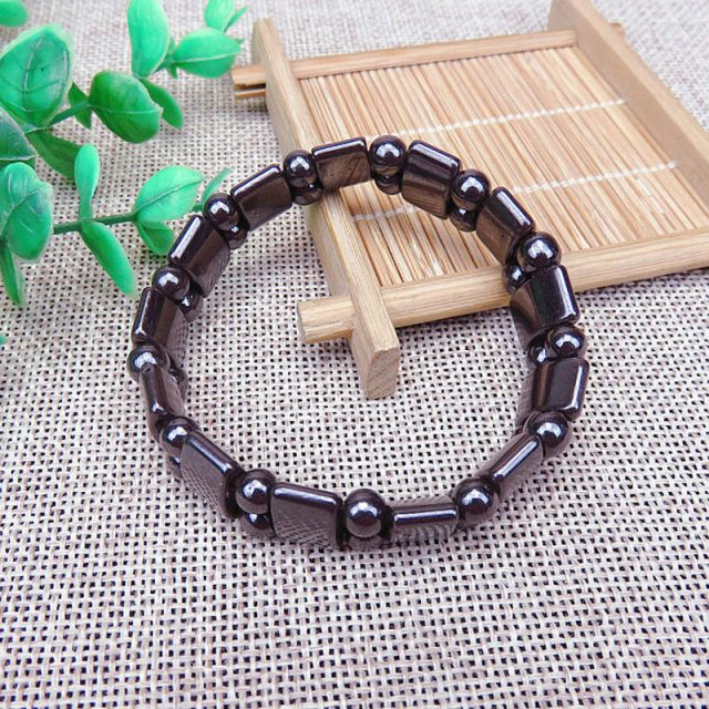 Adjustable Magnetic therapy Weight Loss Round Black Stone Bracelet Stimulating Acupoints Therapy Fat Burning Slim Healthcare