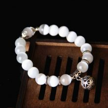 Body Slimming Weight Loss Anti-Fatigue Healing Bracelet White Cat Eye Bead Stretch Bracelet Magnetic Therapy Bead Slim For Women