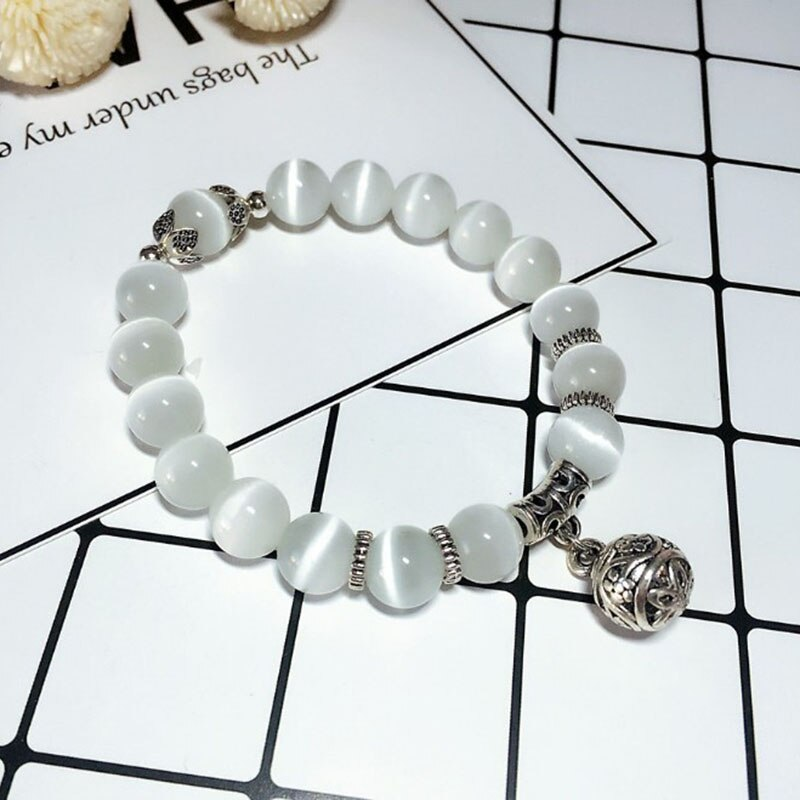 Health Care Weight Loss Magnet White Cat Eye Beads Bracelet with Lucky Pendant Therapy Bracelet Anklet Weight Loss Product