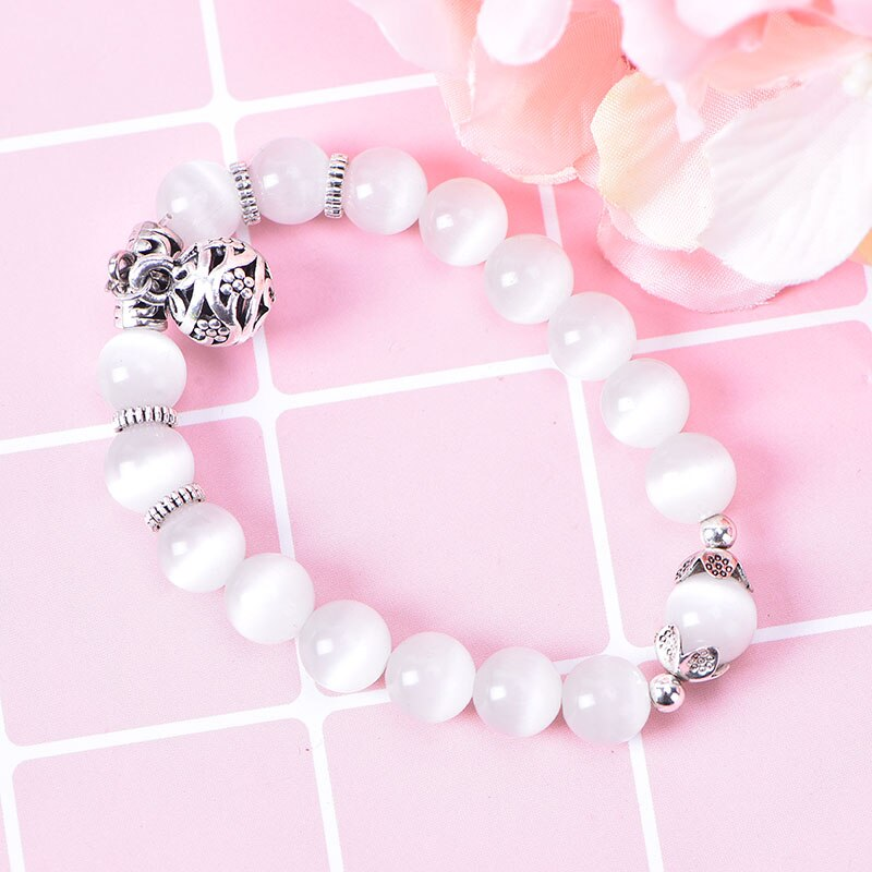 Weight Loss Magnet White Cat Eye Beads Bracelet with Lucky Pendant Therapy Bracelet Anklet Weight Loss Product Health Care