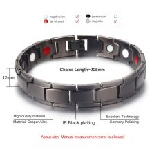 Men's Bracelets Abrray Magnetic Hematite Copper Bracelet with Hook Buckle Clasp Therapy Bangles Man Health Care Jewelry