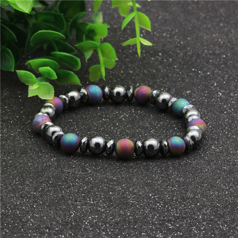 Weight Loss Magnetic Therapy Bracelet For Men Women 8mm Black Hematite Stone Beads Stretch Health Care Bracelet Jewelry Gift