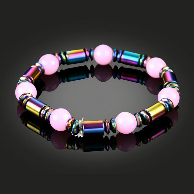 Weight Loss Bracelet Hematite Round Beads Stretch Bracelet For Men and Women Anti-Fatigue Magnetic Therapy Earrings Bracelets