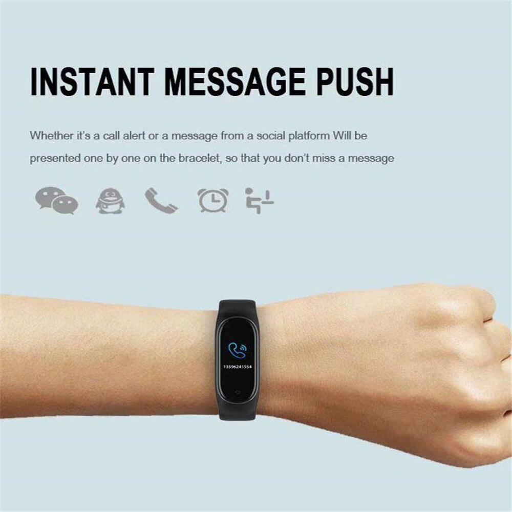 M4 Sport Fitness Pedometer Color IPS Screen Smart Bracelet Blood Pressure Wristband Walk Step Counter Smart Band Men Women Watch