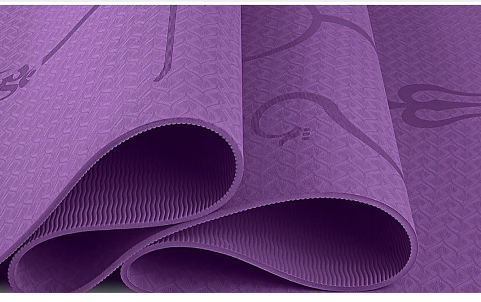 1830*610*6mm TPE Yoga Mat with Position Line Non Slip Carpet Mat For Beginner Environmental Fitness Gymnastics Mats