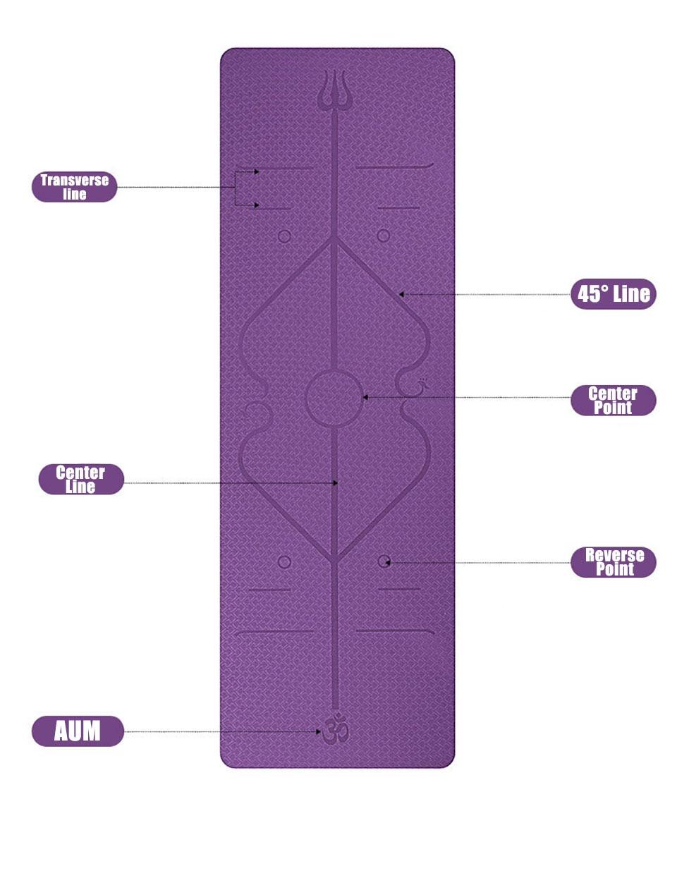 1830*610*6mm TPE Yoga Mat with Position Line Non Slip Carpet Mat For Beginner Environmental Fitness Gymnastics Mats