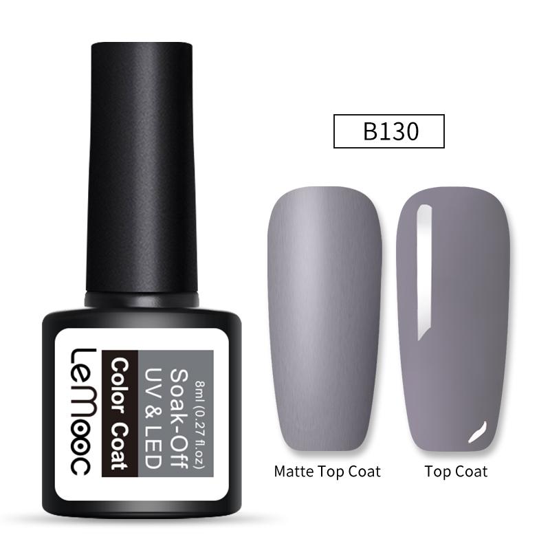 LEMOOC 8ml Matte Top Coat Color UV Gel Nail Polish Gray Series Semi Permanent Soak Off UV Gel Varnish DIY Nail Art Gel Paint